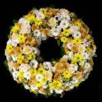 Trauerkranz gelb /weiß Friedhof Westheim